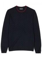 Emporio Armani Navy Basket-weave Jersey Jumper
