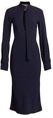 Victoria Beckham Women's Slash Front Buckle Neck Midi Dress