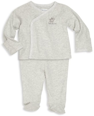 Ralph Lauren Baby Boy's 2-Piece Kimono Top & Footed Pants Set