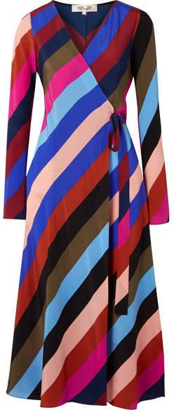 Diane von Furstenberg Striped Silk Crepe De Chine Wrap Midi Dress - Purple