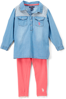 U.S. Polo Assn. Light Wash & Pink Chambray Top & Leggings - Infant & Toddler