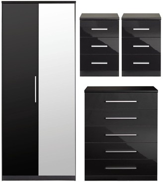 Prague Gloss 4 Piece Package - 2 Door Wardrobe, 5 Drawer Chest and 2 Bedside Cabinets