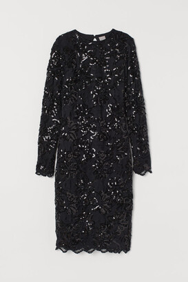 H&M Fitted Sequined Dress - Black