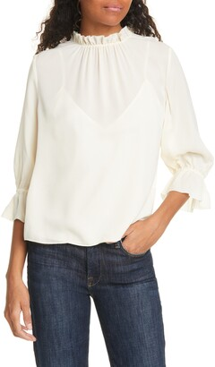 Frame Brooke Ruffle Trim Silk Top