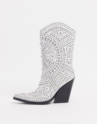 Jeffrey Campbell Studley studded western boot in white