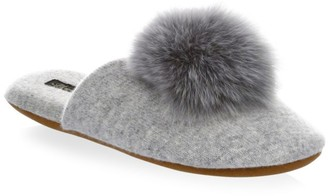 Minnie Rose Cashmere & Fox Fur Slippers