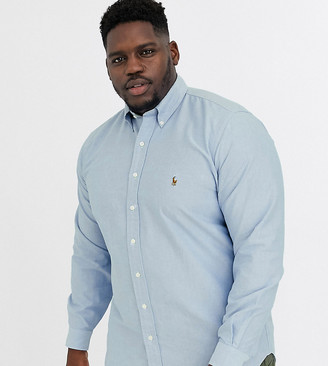Polo Ralph Lauren Ralph Lauren Big & Tall player logo classic fit buttondown oxford shirt in bsr blue