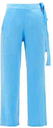 Worme - The Slim Flare Silk Trousers - Blue