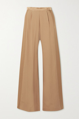 Taller Marmo Palm Beach Satin-trimmed Silk-blend Crepe Wide-leg Pants - Gold