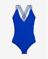 Express strappy back deep v one-piece swimsuit