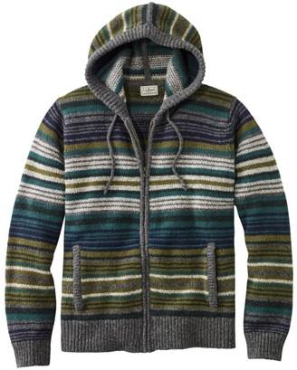 L.L. Bean Men's L.L.Bean Classic Ragg Wool Sweater, Zip Hoodie, Stripe