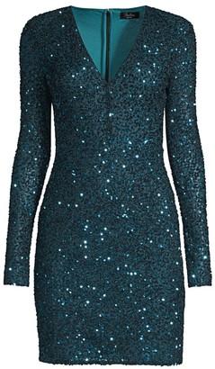 Parker Black Malaga Sequin V-Neck Bodycon Dress