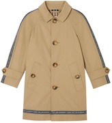 Burberry Logo Print Cotton Gabardine Trench Coat