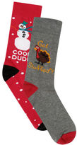 Yours Clothing BadRhino Mens Plus Size 2 Pack Christmas Socks Comfort Rib Top Stretchable