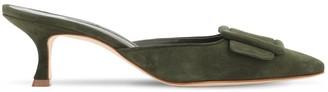Manolo Blahnik 50mm Maysale Suede Mules