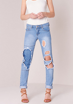 Missy Empire Viktoria Distressed Rip Detail Skinny Jeans