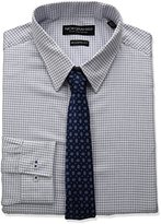 Nick Graham Men's Check Cotton Dress Shirt with Neck Tie