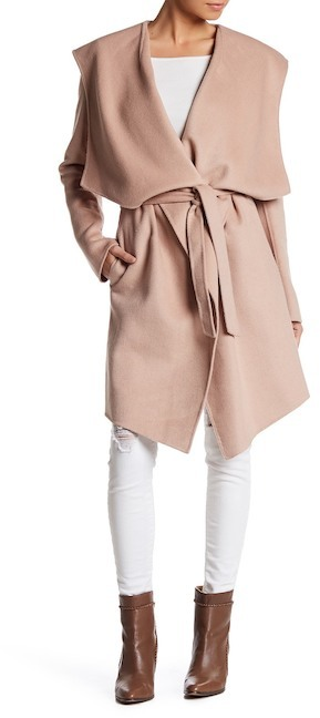 Soia & Kyo Draped Hooded Wool Blend Coat