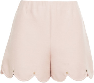 Valentino Scalloped Studded Wool And Silk-blend Crepe Shorts