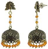 Silvestoo Jaipur 3 mm Round Facet Crystal Hand Crafted Traditional Jaipuri Night Glow Peacock Jhumki Earrings PG-110858