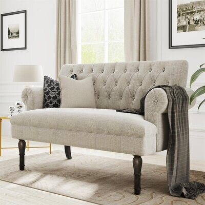 """Thumbnail for your product : Alcott Hill Yerington 58"""" Linen Rolled Arm Sofa"""
