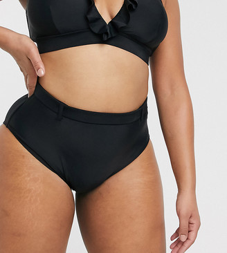 Simply Be high waist bikini bottoms in black
