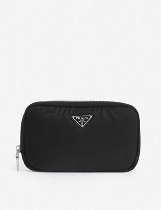 Prada Logo-plaque nylon mini wallet