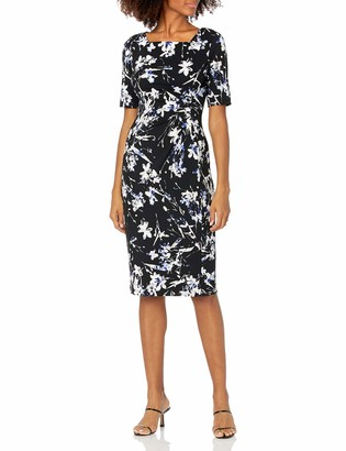 Tahari ASL Women's Elbow Sleeve Square Neck Print Side Ruched Dress