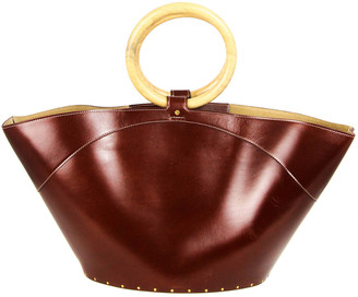 The Row Market Vegan-Friendly Faux Leather & Wood Top Handle Bag