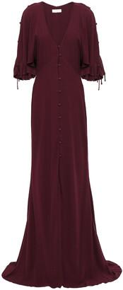 Les Héroïnes Button-detailed Crepe Gown