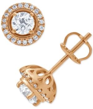 Macy's Diamond Halo Stud Earrings (3/4 ct. t.w.) in 14k Rose Gold