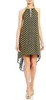 MICHAEL Michael Kors Bergalia Paisley Foil Print Georgette Halter Chain Neck Dress