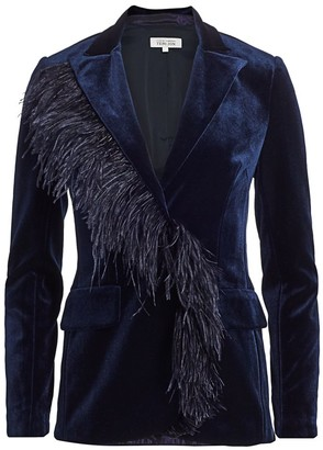 Teri Jon By Rickie Freeman Feather Trimmed Velvet Blazer