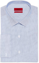 Alfani Fitted Performance Blue and White Textured Mini Stripe French Cuff Dress Shirt