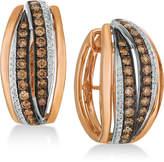 LeVian Le Vian Chocolatier Diamond Hoop Earrings (1-1/4 ct. t.w.) in 14k Rose Gold & White Gold