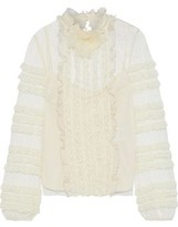 RED Valentino Ruffled Organza-trimmed Point D'esprit And Lace Blouse