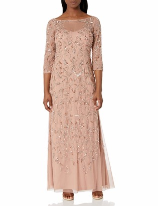 Adrianna Papell Women's Petite Elbow Sleeve Dress Gown with Floral Scroll Beading