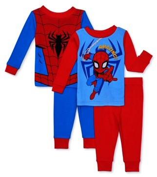 Spiderman Baby & Toddler Boys Long Sleeve Snug Fit Cotton Pajamas, 4pc Set