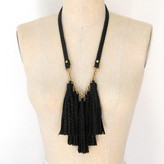 Three Horses Leather Tassel Necklace Black