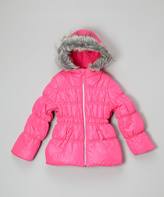 Hawke & Co Pink Glow Faux Fur Quilted Puffer Jacket - Girls