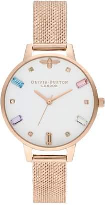Olivia Burton Rainbow Bee Pale Rose-Goldtone Mesh Bracelet Watch