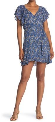 Lush Floral Print Surplice Wrap Dress