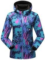 Hengjia Women's Camouflage Hooded Soft Shell Waterproof Jacket Fleece Urban Casual Coat US XS /Asia Tag L