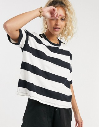 ASOS DESIGN boxy cropped t-shirt with chunky stripe in black and cream
