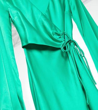 Asos Tall ASOS DESIGN Tall satin wrap front midi dress in emerald green