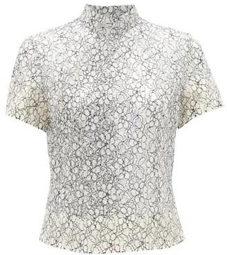 Comme des Garcons Floral Cotton Lace Top - Womens - Black White