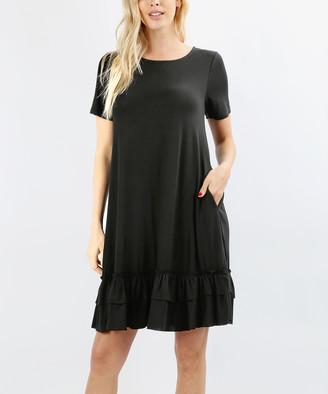 Zenana Women's Casual Dresses BLACK_IPB - Black Ruffle-Hem Side-Pocket Shift Dress - Women