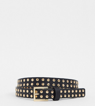 Accessorize studded belt with gold buckle in black