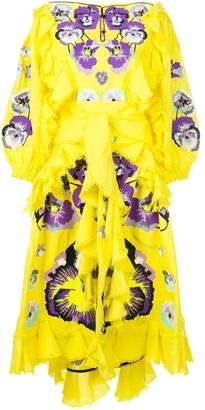 Yuliya Magdych Pansies ruffle trim dress