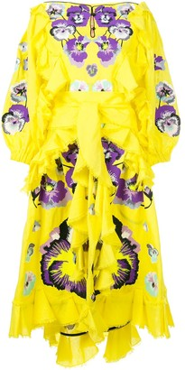 Yuliya Magdych Pansies ruffle trim dress